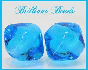Transparent Aqua Bicone Glass Beads - Handmade Lampwork Bead Pair SRA, Made To Order