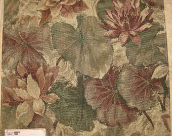 Purple Tan Floral Pond Water Lily Kravet Designer Fabric Sample Upholstery