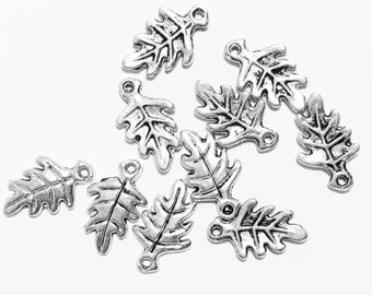 100 pcs of Antique Silver Oak Leaf charm 9x15mm, bulk leaf charm, antique silver alloy leaf charm
