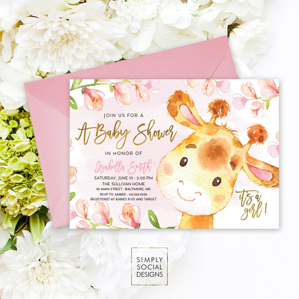 Giraffe Baby Shower Invitation Floral Pink Boho April Giraffe Its