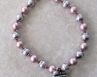 Valentine Jewelry For Smaller Wrists, Pink, Silver & White Pearls Bracelet, , Stretch Disability Bracelet, Romantic February Bracelets