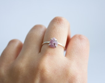Raw Ruby Mineral Ring (Polished Silver) - raw gemstone ring - sterling silver - handmade - one of a kind