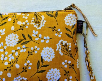 Yellow Floral Wristlet