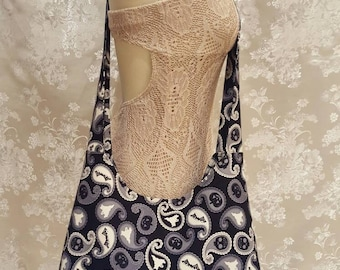 Cross Body Tote Bag - Halloween Paisley with Ghosts, Bats, Skulls, and Jack-O-Lanterns