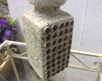 Vintage german ceramic vase VEB Haldersleben 3058 A interesting decor