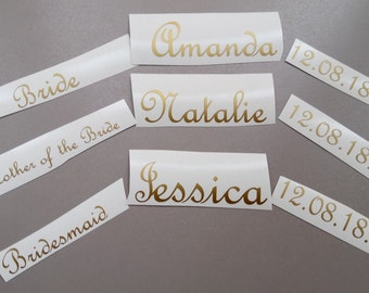 Wood Hanger Decals, Bridal Party Decals, Wedding Decals, Personalized, Bachelorette Party, Bridesmaid, Entourage, DIY Vinyl Sticker