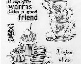 Coffee/Tea Cups, Sweets Clear Stamps