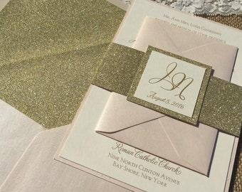 Glitter Invitations, Blush invitation, Blush and Gold Invitation, Blush Wedding Invitation, Gold Glitter invitation Glitter invitation