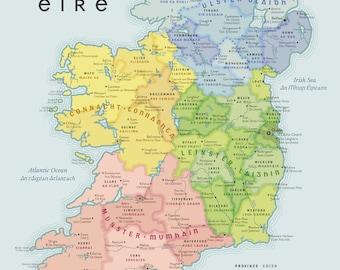 Beautiful Map of Ireland in English and Irish (Gaeilge)