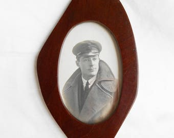 Antique WW1 Wooden Photo Frame Made From Plane Propellor, Original 1917 Photo