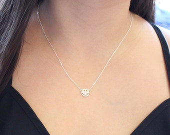 Smile Pendant Silver Necklace
