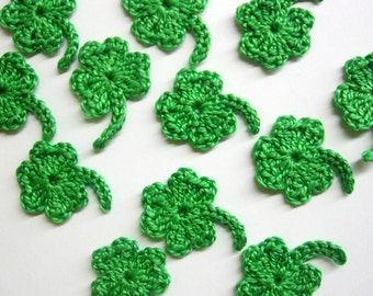 Handmade crocheted shamrock appliques, 1 inch, lime green, 12 pc.