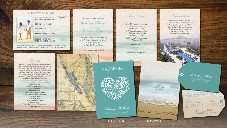 Cabo Passport Wedding Booklets Los Cabos Mexico Luggage
