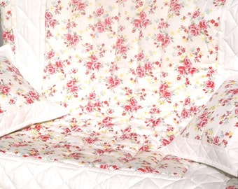 Vintage rose Shabby Chic Cot/Bed Quilt and Cushion Covers 100% Cotton