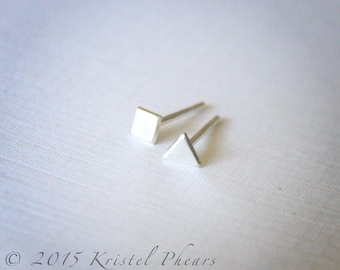 Tiny Geometric Stud Earring - .925 Sterling Silver Square or Triangle dot, Eco-Friendly sterling stud earring, 3mm matte satin