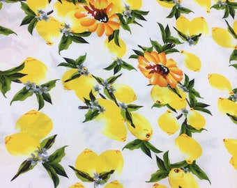 fruits party yellow lemon blue flower r cotton bourette fabric by yard for dress