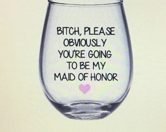 Maid of honor gift wine glass. Maid of honor gift. Gift for maid of honor gift. Moh gift. Maid of honor gift ideas.