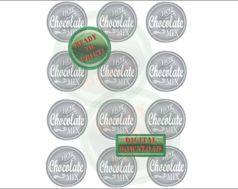 Hot Chocolate Mix Favor Tag Printable Silver Mason Jar Label Sheet Small Mouth Digital Sheet Holiday Gift Tags Homemade Winter Wedding Favor