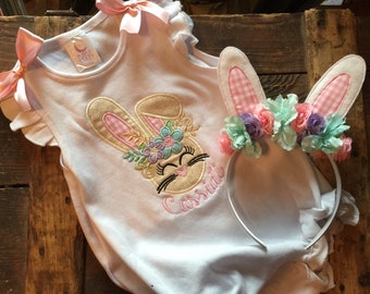 Easter Outfit Girls - 1st Easter Outfit - Bunny Romper - Easter Outfit Baby - Bunny Ear Headband - 1st Easter - Bunny Set Girl