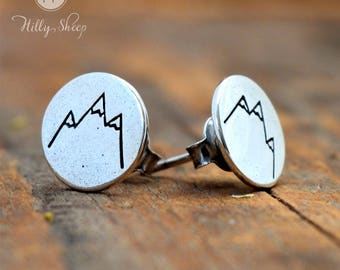 silver Earrings  - Mountains' view pastilles.Silver jewelry. Mountain jewelry. Travel. Fashion.Jewellery