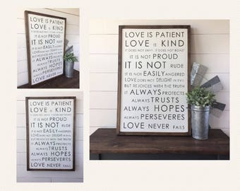 Love Is Patient Love Is Kind Love Never Fails Sign | Framed Painted Wood Sign 24x36"