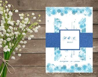 Digital Winter Snowflake Wedding Invitation Set Shimmer Card - Snowflake Wedding - Winter Wedding - Christmas Wedding