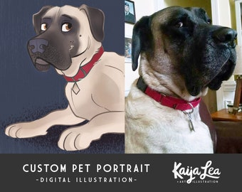 Custom Pet Portrait | Pet Memorial Illustration | Pet Loss Gift | Custom Dog Portrait | Custom Cat Portrait | Personalized Pet Drawing