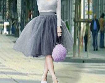 Grey tulle skirt. Tulle skirt. Tea length tulle skirt. Woman tulle skirt. Tutu skirt women. Bridesmaid skirt. Tutu skirt.
