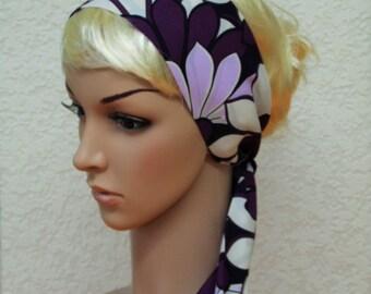 Floral head scarf, hair covering, self tie headband, vintage style headscarf, hair bandana, 134 x 8 cm