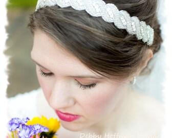 Jeweled Bridal Headband, Rhinestone Wedding Headpiece, Rhinestone Crystal Wedding Headband, Silver Beaded Bridal Hair Piece, No. 5040HB