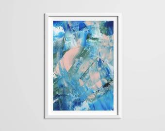 Blue Paint Strokes Print