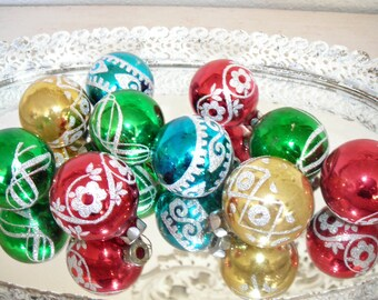 glittered glass Christmas ornaments - vintage holiday glitter bulbs jewel tones - shabby cottage chic - antique blue red green gold set 10