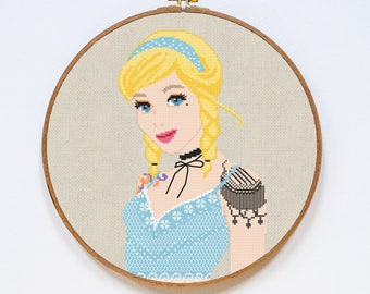 Cinderella Cross Stitch Pattern, Disney Princess Cross Stitch Pattern, Modern Tattoo Cross Stitch Chart, PDF Format, Instant Download