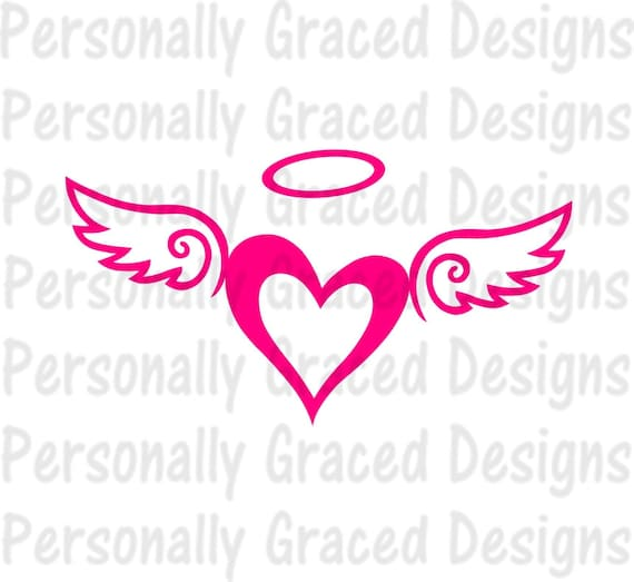 SVG, DXF, EPS Cut file Angel Wings Heart with Halo ...