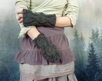 Winter Gardener Mitts, hand knitted chunky cable fingerless gloves in pure wool with silk, spruce green