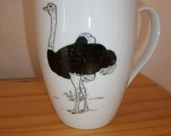 "Mug decorated with a ""Ostrich"" mug in Limoges porcelain, hand painted mug, domed mug, mug, tea, coffee mug, chocolate mug"