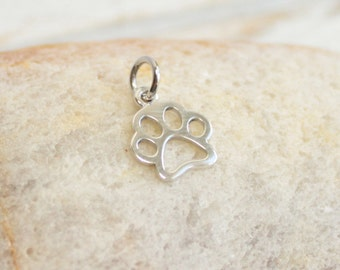 Sterling Silver Paw Print Charm  -- One Piece  -- 925 Sterling Dog or Cat Lover Pendant