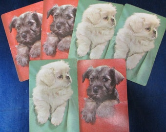 ADORABLE PUPPIES CARDS (6) Vintage Playing Cards Collectible Swap Cards Kids Arts & Crafts Projects Scrapbooking Mixed Media Free Shipping