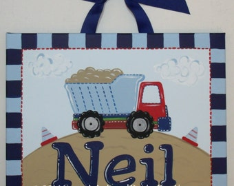 truck, nursery wall art, canvas name sign, Custom, hand painted, transportation art, painting, truck nursery, boys monogram, monogram art