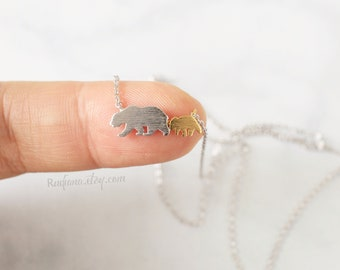 Mom and Baby Bear Necklace, Dainty Bear Necklace, Mama Bear Necklace, Silver and Gold Bear Necklace,8062