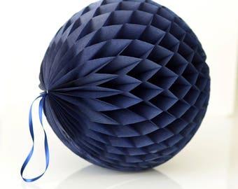 Papel de seda azul marino panal bola colgante boda fiesta decoraciones papel linterna-cumpleaños papel decoración-ronda bola-vivero decoración