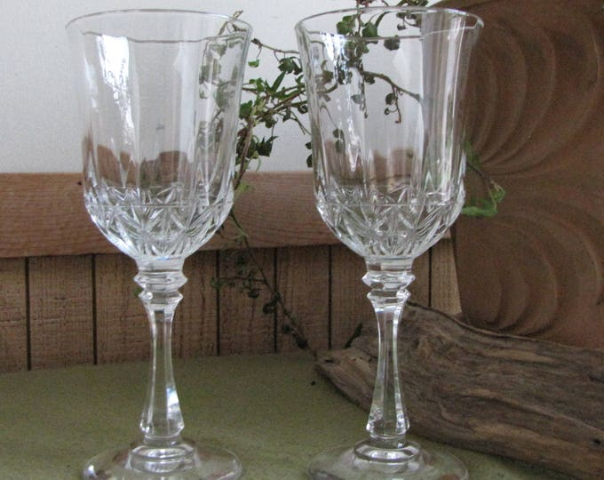 Crystal Wine Glasses EAPG Two (2) Large Water Goblets or Wineglasses Vintage Barware