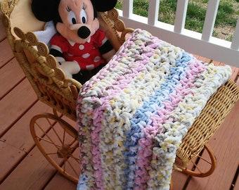 Crocheted Bernat baby blanket - Multi colored