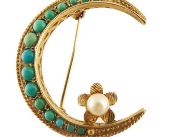 Gold Crescent Moon Brooch Set w Turquoise Pearl Vintage (#5693)