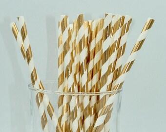 Set of 25 paper straws paper stripes copper rose gold metal trend Valentine love anniversary - shower - wedding