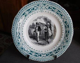 Talking plate n 4 proverbs and peasants Creil & Montereau Barluet and co. 1876/1884