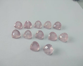 63 Ct Top Quality of Natural Loose Gemstones Rose Quartz Heart Shape 12MM 12 piece