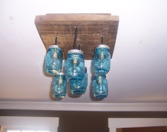 Vintage blue mason jar chandelier