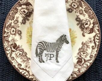 Chinoiserie Zebra Monogram Napkin