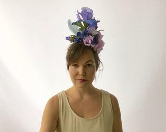 Blue iris fascinator